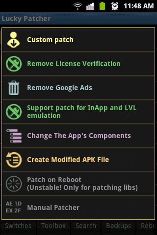 Patch Option in Lucky Patcher App