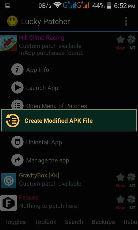 Click Create Modified Apk file