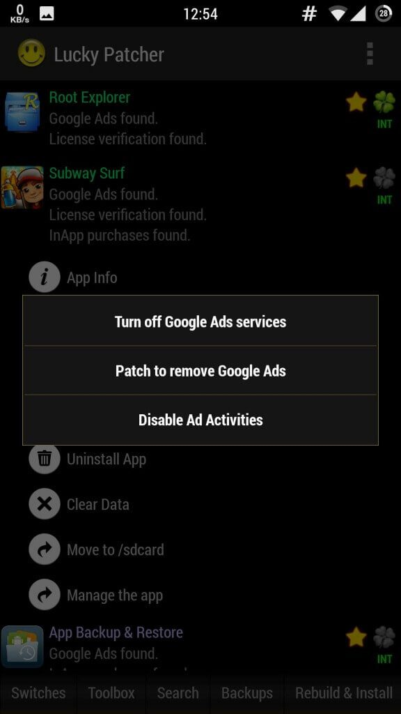 Click on Patch To Remove Google Ads